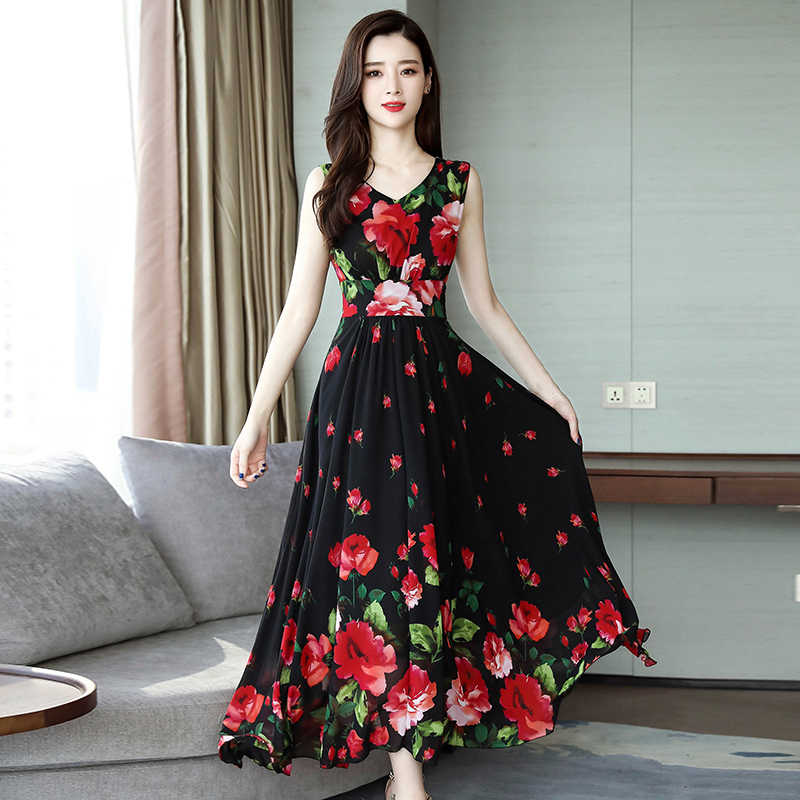 2019 Summer Sleeveless Beach Long Dress Casual Women Print Floral Dress