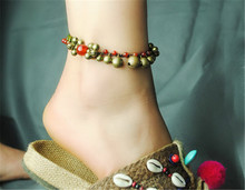 anklet 2016 new DIY weave hot sell bell retro foot rope accessories wholesale jewelry women bracelet cheville gift T009