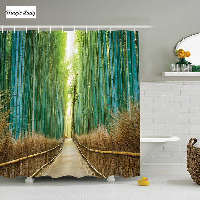 Shower Curtain Forest Bamboo Japan Collection Panoramic View ...