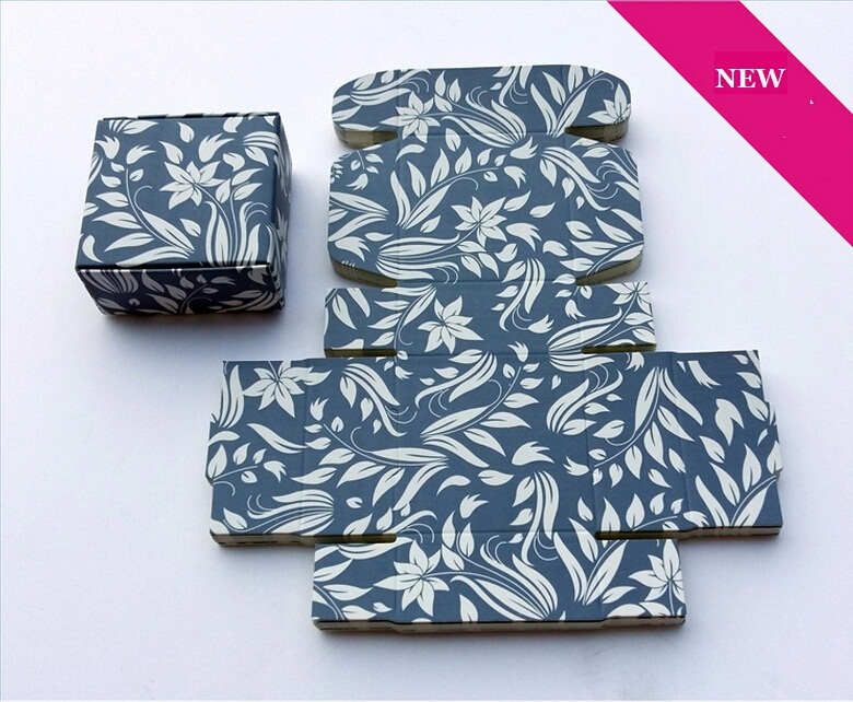 Joy Free Ship Size 7.5*7.5*3cm Blue paper cardboard boxes and packaging, beautiful small gift box