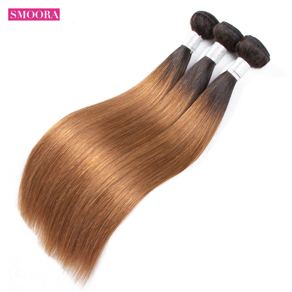 Two Tone Ombre 1B/30 Brazilian Straight 3 Bundles / Lot 100% Human Hair Extensions Ombre Bundle Free Shipping Smoora Non Remy