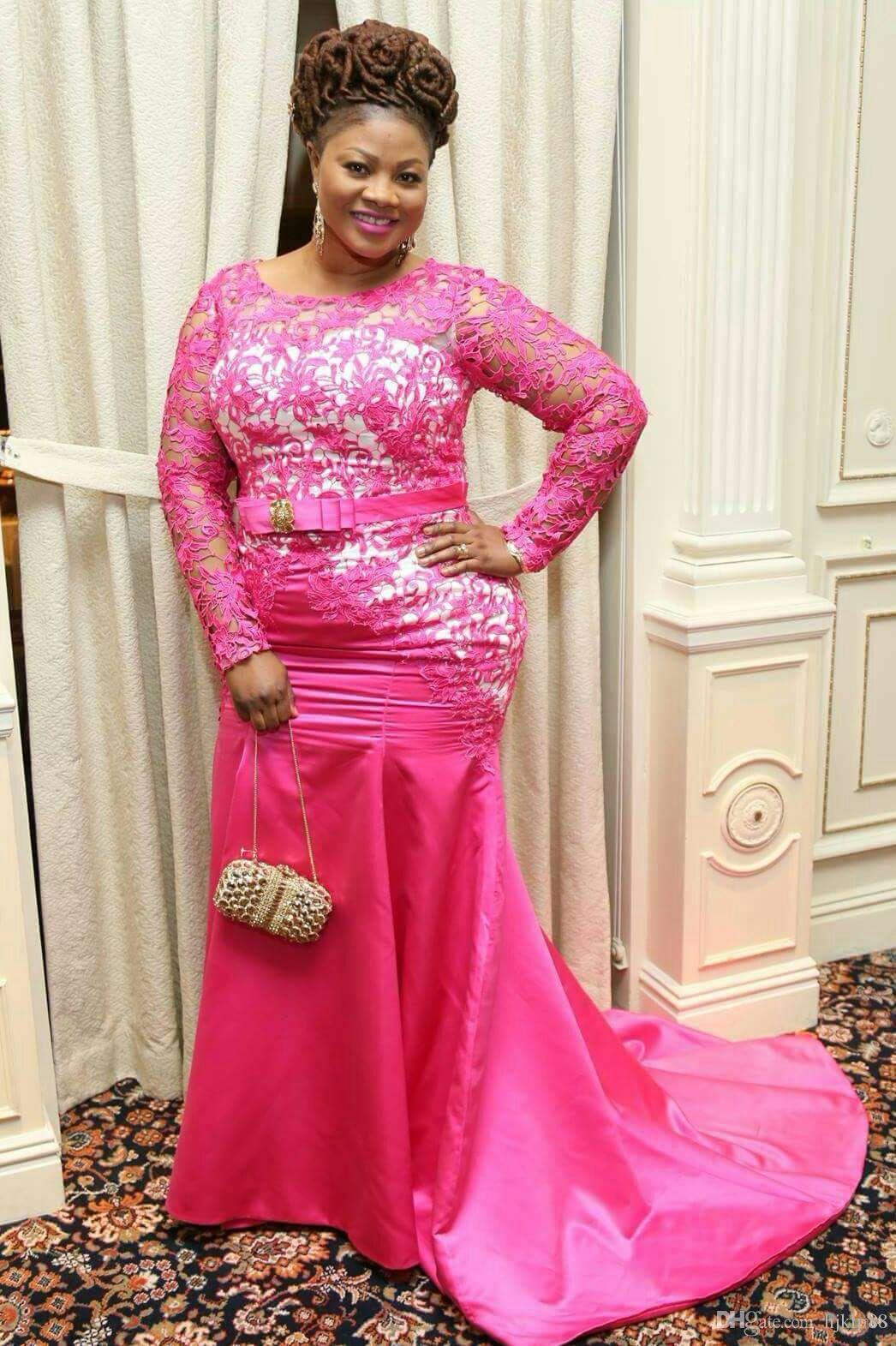 2017 Plus Size Hot Pink Long Sleeve Lace Mermaid Evening Prom ...
