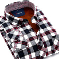The new winter models wear Mao Gezi men's long-sleeved flannel shirt plus velvet warm cotton plaid men's shirt