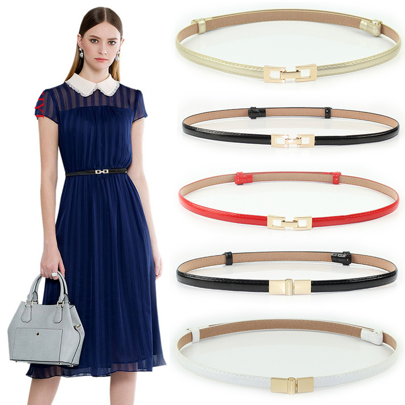 Belle PemeHb Women   Belts   bright PU Leather Metal Buckle Adjustable   belt   Ladies thin black Waist strap   Belt   Waistband for Dress