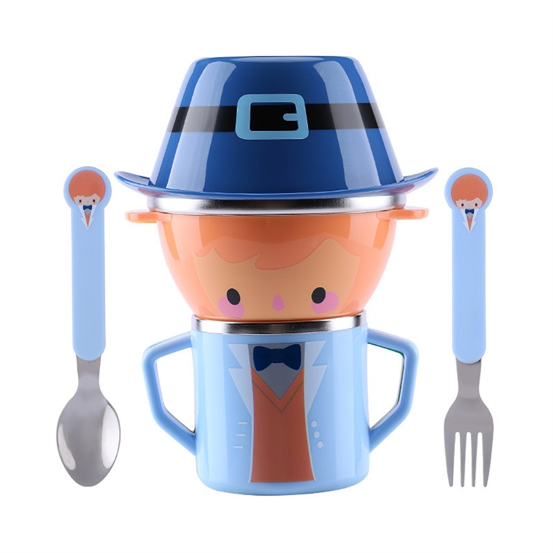 Cartoon Child Plate Tableware Dishware Dinnerware Set Infant Food Bowl Cup Feeding Dinner Fork Spoon for Children Kids Bowl 5 set baby tableware dish bowl fork spoon cup set natural bamboo fiber bowls cute cartoon child feeding tableware kid dinnerware