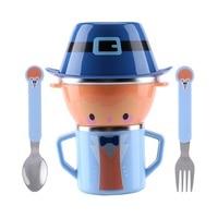 Cartoon Child Plate Tableware Dishware Dinnerware Set Infant Food Bowl Cup Feeding Dinner Fork Spoon For