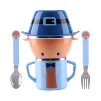 Cartoon Child Plate Tableware Dishware Dinnerware Set Infant Food Bowl Cup Feeding Dinner Fork Spoon For