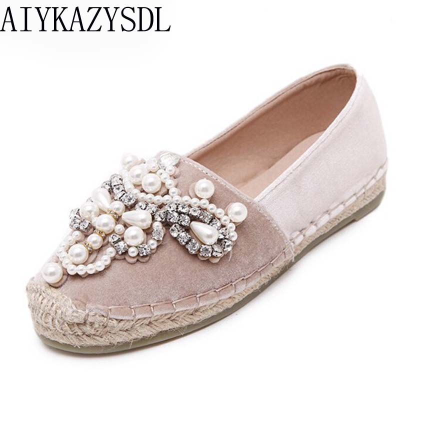 AIYKAZYSDL spring women loafers cane hemp straw fisherman flat heel shoes rhinestone faux pearl espadrilles woman velvet flats stylish faux pearl rhinestone eye ring for women