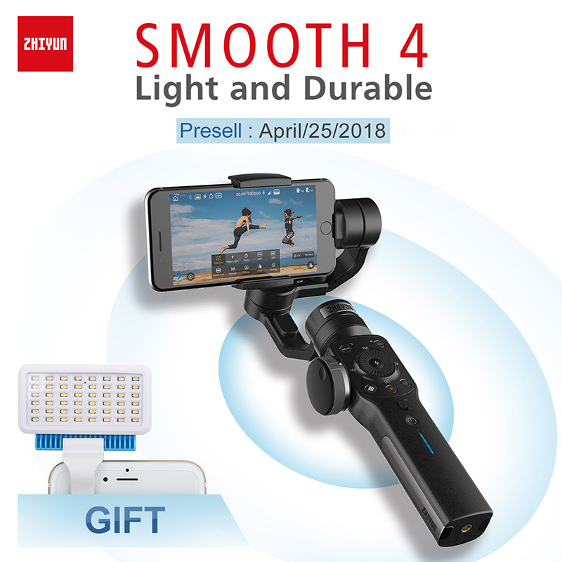 Presell Zhiyun-tech Lisse 4 3 Axe Cardan estabilizador celular pour iPhone X 8 Gopro Hero 5 SJCAM SJ7 xiaomi Yi 4 k d'action