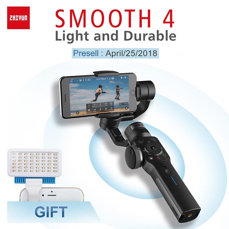 Presell Zhiyun-tech Smooth 4 3 оси Gimbal estabilizador celular для iPhone X 8 Gopro Hero 5 SJCAM SJ7 Xiaomi Yi 4k экшн