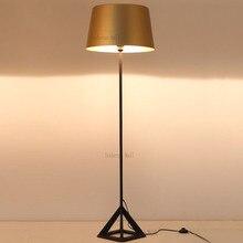 Artistic triangle floor lamp golden color modern simplistic design novelty floor light for living room bedroom hotel office
