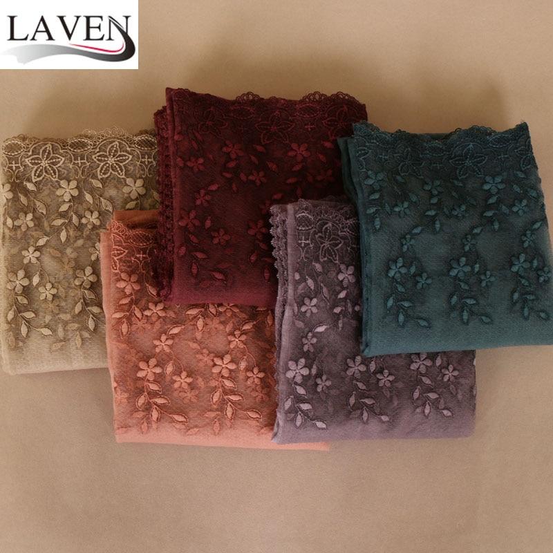High quality women soft cotton lace floral solid shawls hijab muslim headband plain scarves/scarf 7 color 10pcs/lot 200*95cm