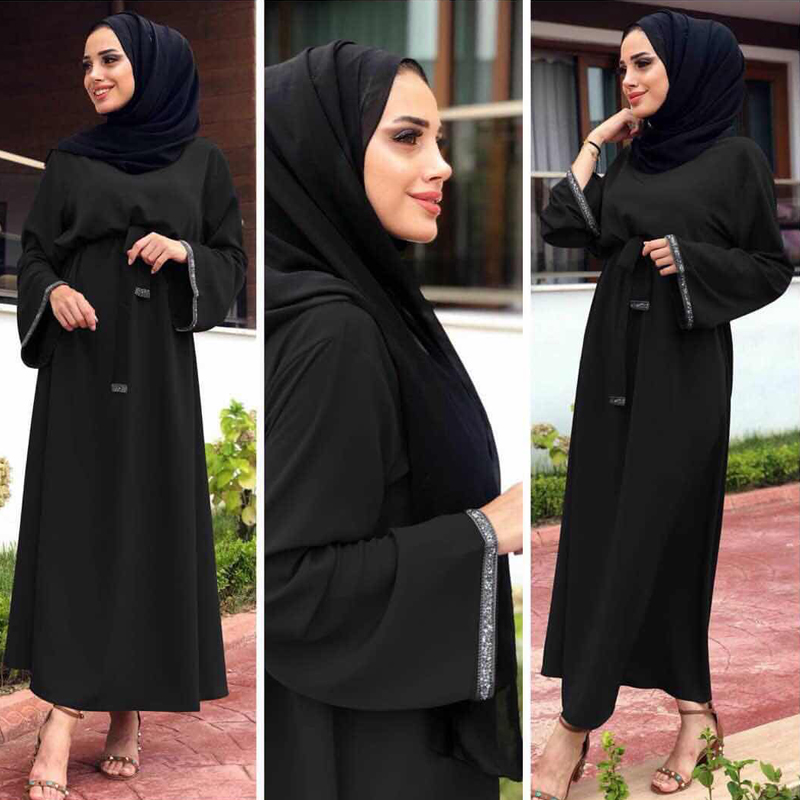 Black Kaftan Abaya Turkey Dubai Muslim Dress Jilbab Caftan Marocain Ramadan Abayas Women Hijab Elbise Turkish Islamic Clothing