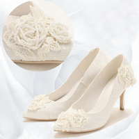 handmade pearl embroidery thin heel white high heeled shoes bride wedding dress dinner party light lace women ' s shoes