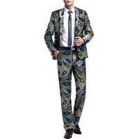 African Print Men Blazer And Trouser Ankara Man Blazers African Dashiki Pant Suits African Men Wedding Suit