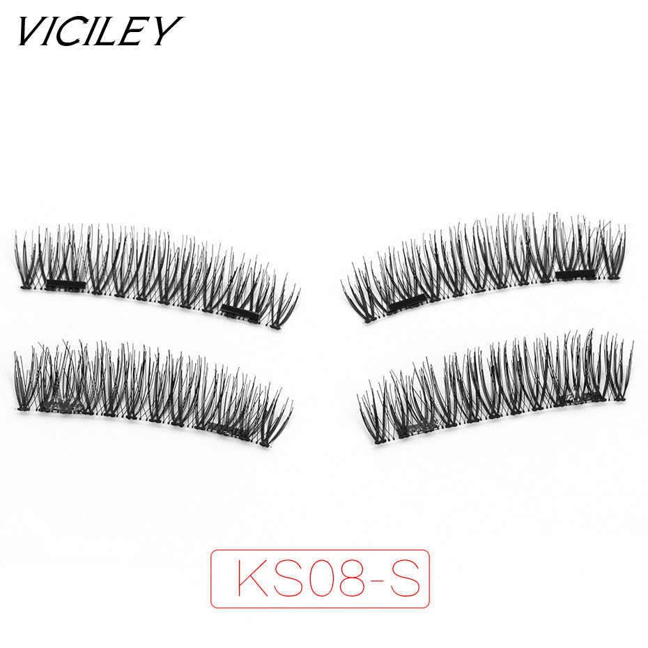 167a029a3d3 VICILEY Magnetic Lashes with 2 magnets false Eyelashes 3D magnet eyelashes  natural looking Fake Eyelashes extension