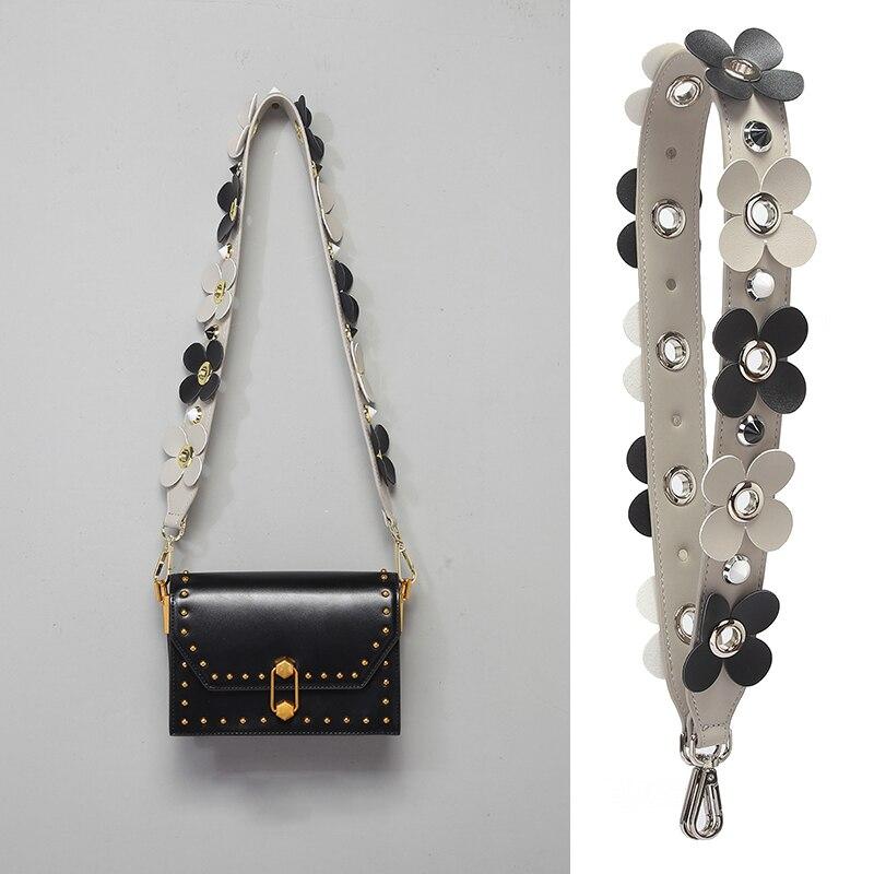 PU Metal Rivet Shoulder Strap For Women Contrast Color Flower Obag Accessories Lady Serpentine Handbag Circle Crossbody Bag Belt