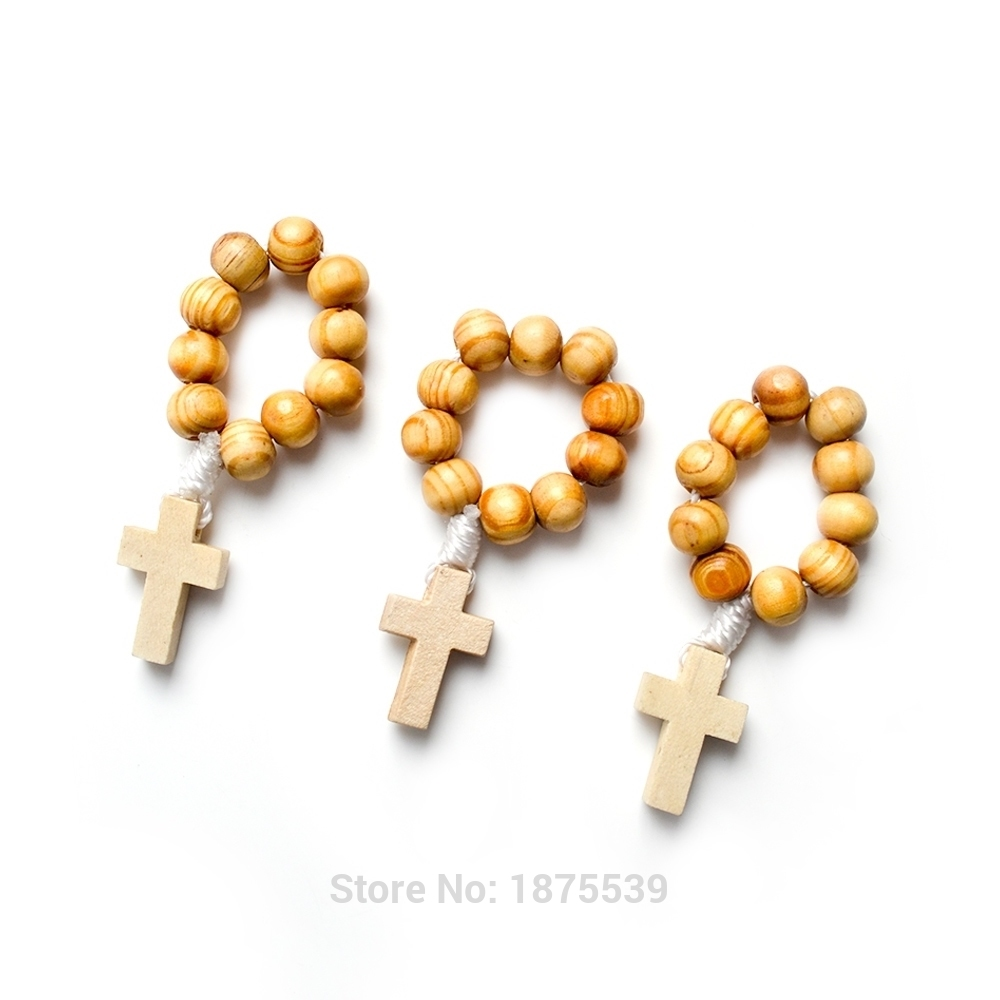 Wood Bead Finger Rosary White Cord 8 Mm Round Beads