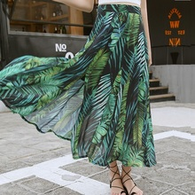 High Waist Boho Sexy Long Skirt Women Split Maxi Skirts Green Plant Pint Beach Holiday Female 2019 Hot Sale Summer Floral Skirt usb флешка silicon power mobile x21 32gb black sp032gbuf2x21v1k usb 2 0 microusb