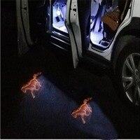 2 pçs sem fio porta do carro led bem vindo projetor laser logotipo sombra cavalo luz do carro-estilo do carro interior da lâmpada de luz