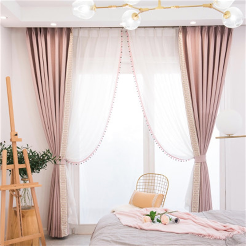 Pink Cartoon Blackout Curtains Lace Stitching Curtains For Living Room Children Room Princess Style Blinds Drapes Panel T138#4 Curtains     - title=