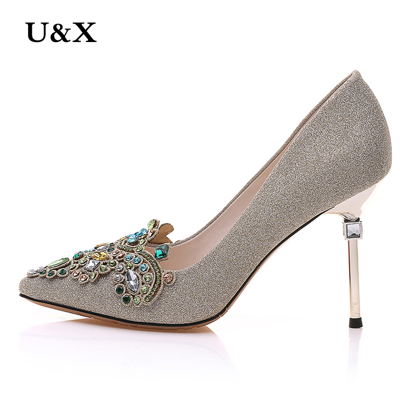 U&X Tip fine with high heels female 2017 summer autumn new casual shoes sexy shallow mouth embroidery embroidered shoes 72323 14cm sexy fine with nightclub shiny diamond high heels spring and autumn shallow mouth princess wedding shoes