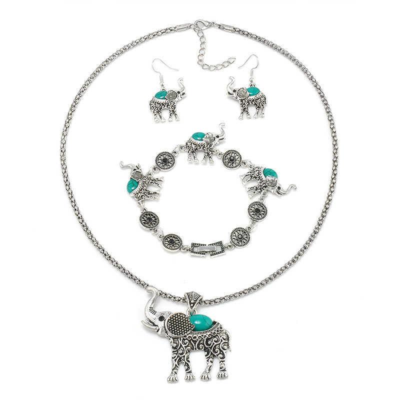 แฟชั่นสีเขียวชุดเครื่องประดับแอฟริกันสำหรับผู้หญิง Vintage Silver สีช้างจี้สร้อยคอต่างหูสร้อยข้อมือเครื่องประดับของขวัญ