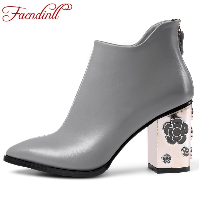 FACNDINLL genuine leather riding boots plus size winter metal relief heel ankle boots for women black high heels chelsea boots facndinll genuine leather sandals for