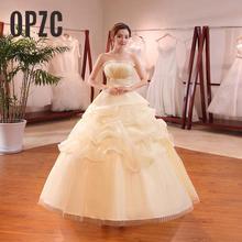 מכירה לוהטת סיטונאי שמפניה אדום לבן חתונה שמלת 2018 חדש הגעה ראפלס אפליקציות Sweetange קוריאני סגנון הכלה הקיץ