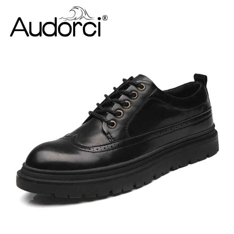 Audorci 2018 Fashion Vintage Men Brogue Shoes Men's Lacing-up Breathable Casual Shoes Man Leather Shoes Size 38-44 2017 new spring imported leather men s shoes white eather shoes breathable sneaker fashion men casual shoes