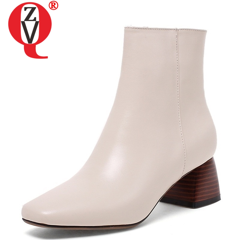 ZVQ genuine leather ankle boots large size 33-43 plush women shoes ladies 5.5cm square heel black beige 2 color big winter shoesZVQ genuine leather ankle boots large size 33-43 plush women shoes ladies 5.5cm square heel black beige 2 color big winter shoes