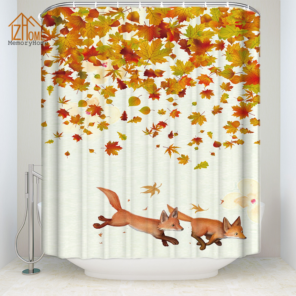 Fall Shower Curtain Autumn Foliage Maple Leaf Print for Bathroom