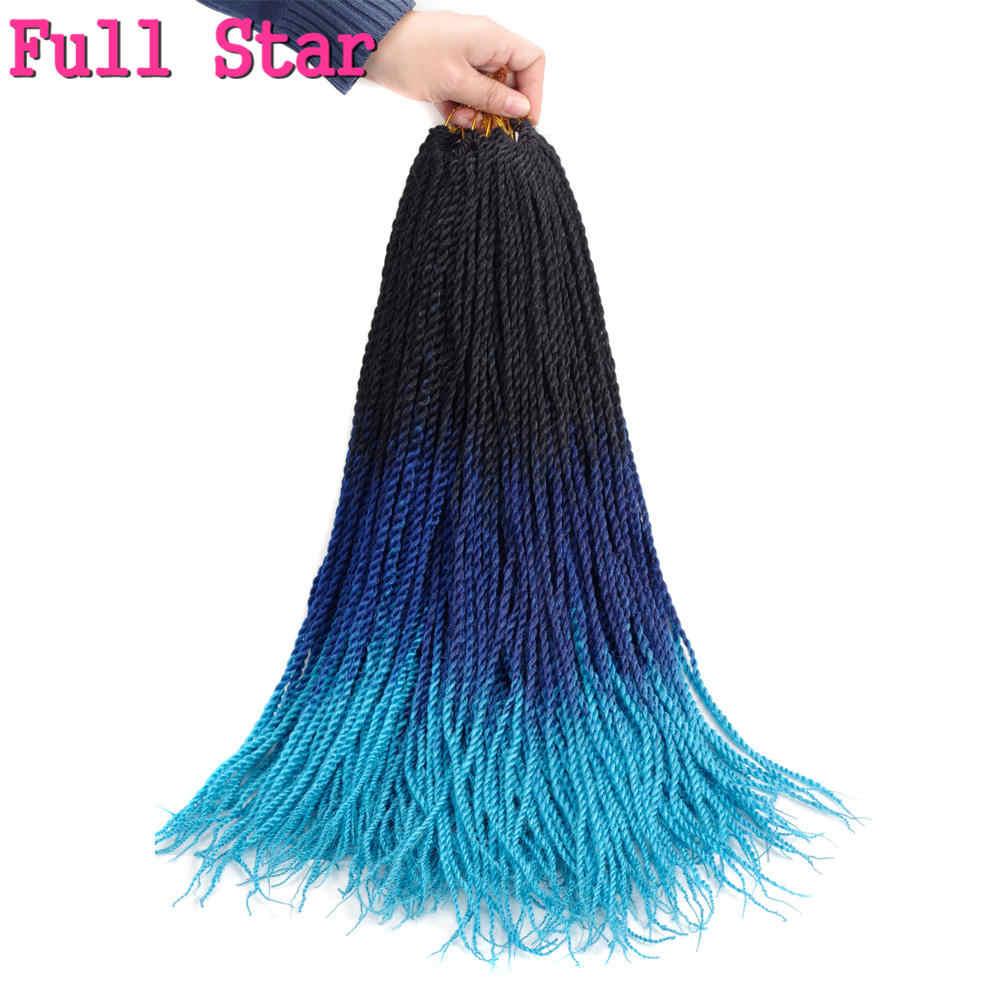 """Полная звезда волос 1-6 шт 20 """"черный Омбре синий красный зеленый Сенегальские накрученные волосы крючком плетение синтетические накладные волосы предварительно петля волос"""