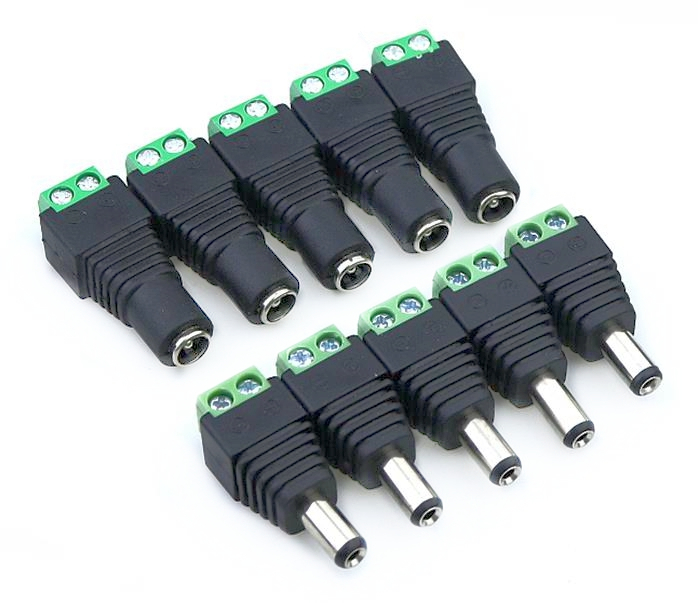 10pcs /5 Sets Green Male + Female 12V 2.1x5.5MM DC Power Jack Plug Audio AUX Free Welding Socket Connector