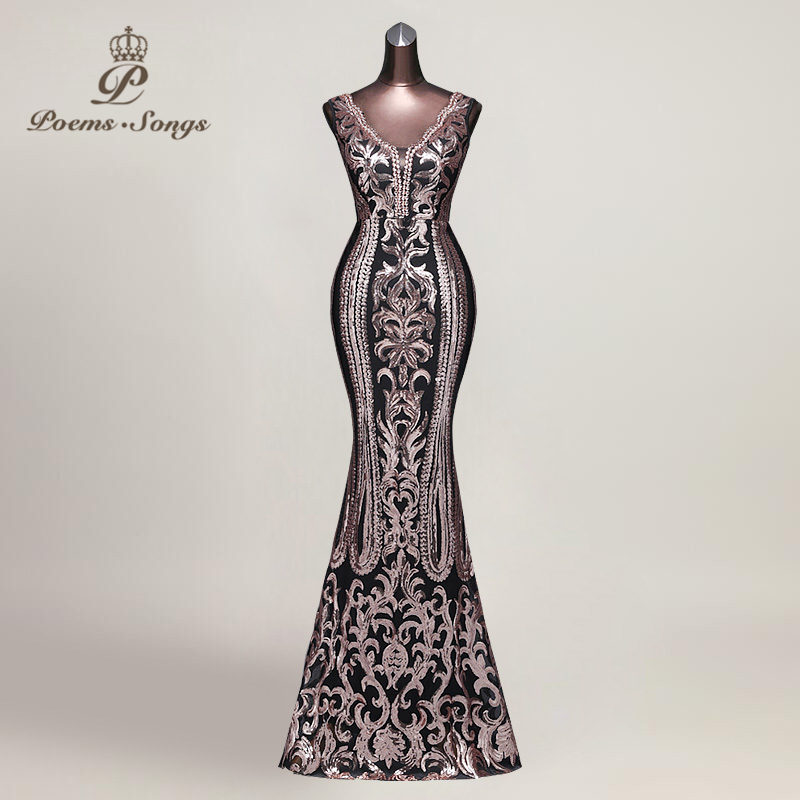 Poems Songs 2019  Hot sale Evening Dress vestido de festa Sexy Backless Luxury elegant Sequin formal party dress prom gowns-in Evening Dresses from Weddings & Events    1