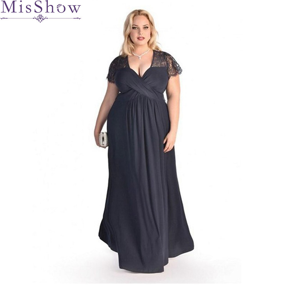 Plus Size Mother Bride Dresses: Plus Size Evening Dresses Elegant V Neck Chiffon Formal