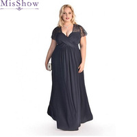 Plus Size Evening Dresses Elegant V Neck Chiffon Formal Evening Mother of the bride dress Gown Party Dress Robe De Soiree 2019