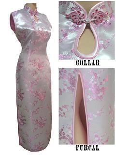 Light Pink Chinese Style Women's Evening Dress Dripping Cheongsam Qipao Top Halter Clothing Size S M L XL XXL XXXL WC080