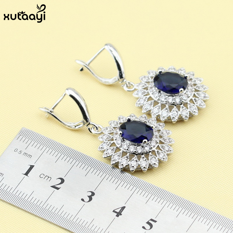 XUTAAYI Mavi Cubic Zirconia AAA Keyfiyyətli 925 Gümüş zərgərlik - Moda zərgərlik - Fotoqrafiya 4