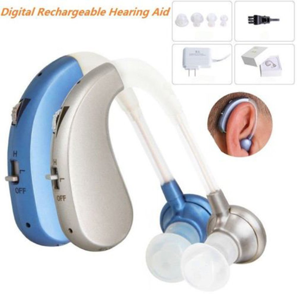 Digital Hearing Aid Rechargeable Voice Amplifier Adjustable Behind Ear Sound Intelligent Noise Reduction