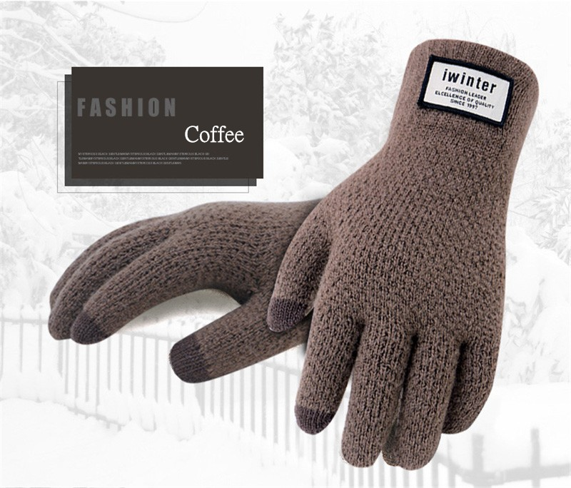 Men Touch Screen Warm Wool Cashmere Solid Gloves