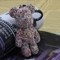 Bomgom Cristales Strass Cristales Popobe Gloomy Bear Llavero Llave Del Coche Holder Bag Charm Resina Titular Clave Llavero Anillo Colgante F78