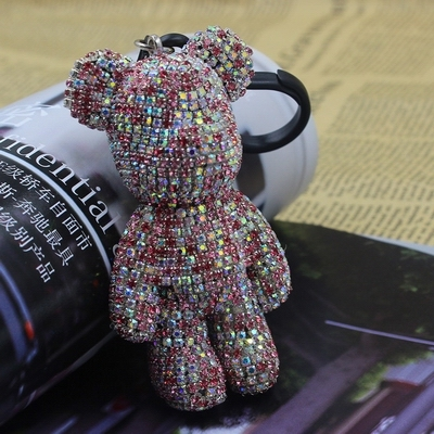 Bomgom Crystals Popobe Gloomy Bear Strass Crystals Keychain Car Key Holder Bag Charm Holder Resin Key Chain Key Ring Pendant F78