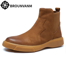 mens Chelsea boots autumn winter British army men Riding high top shoes all-match cowhide Genuine Leather big szie