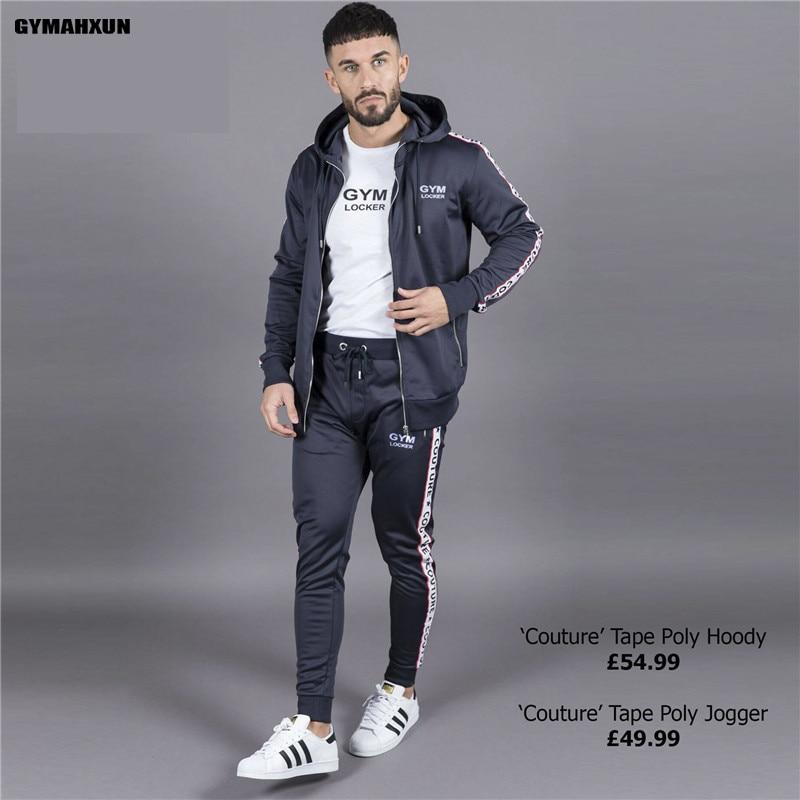GYMAHXUN Gyms Bodybuilding Sporting Suit Mens Hoodie Zipper Cardigan Pants Suits Tracksuit Two Piece Set Men Clothing Sets