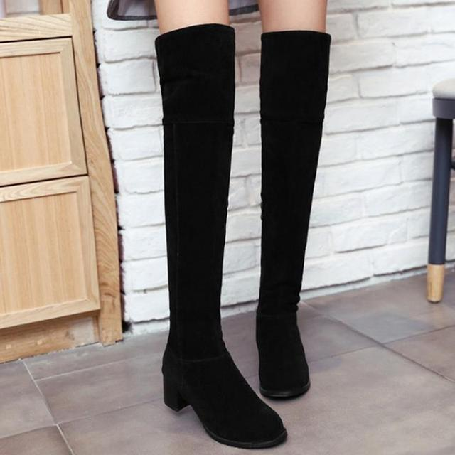 Women Square Heel Over Knee Boots Woman Fashion Round Toe Knight Boot Lady Autumn Winter Heels Shoes Footwear Size 34-43
