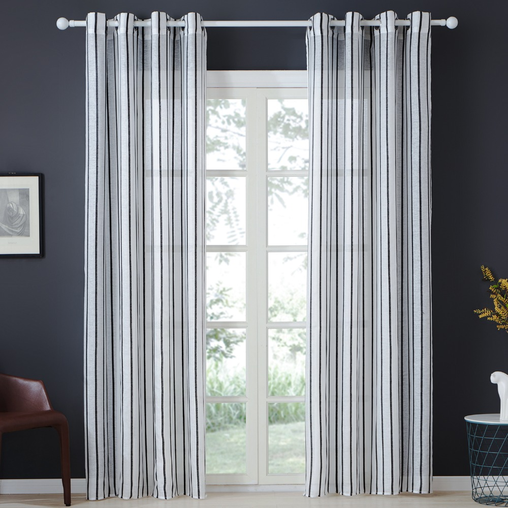 Details About Topfinel Pinstripe Semi Voile Sheer Curtains Tulle For Bedroom Kitchen Living