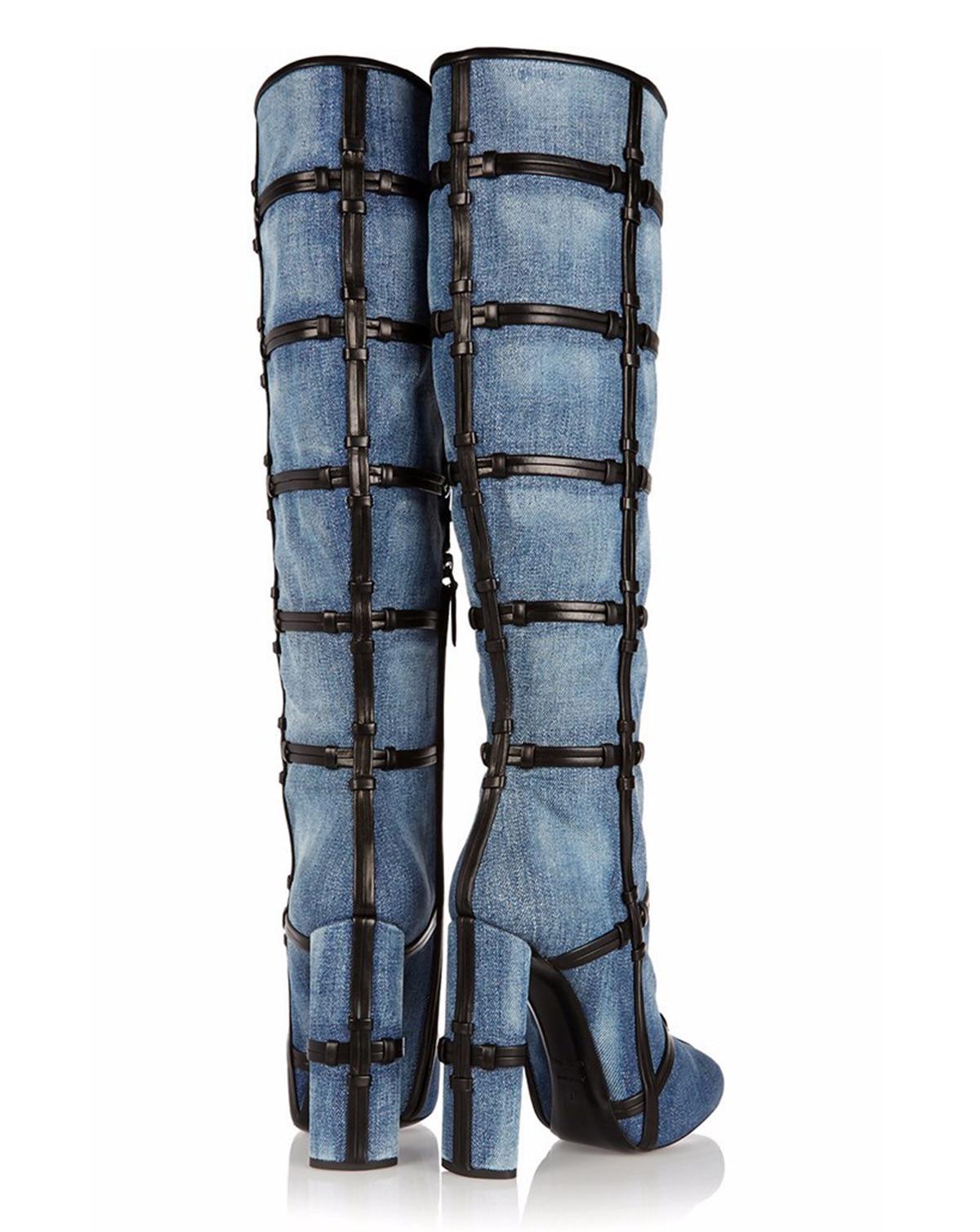 Talón Nudo Stiletto Sexy Moda Vaquero Alta De Botas Estilo Calle Retro Gruesos Negro Zapatos Rodilla Tacones Mujer Mezclilla Larga Cruz Azul 5qwFwf6