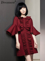 High Quality Woman Summer Dress O Neck Empire Flare Sleeve Vintage Clothes Solid Pleated Dress Above