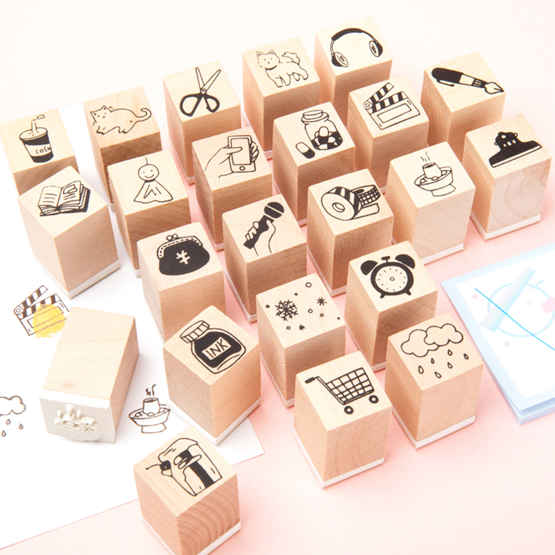1Pcs/Lot Student Essential Products Clock Stamp DIY Wooden Rubber Stamps For Scrapbooking Stationery Scrapbooking Standard Stamp